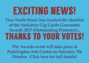 We've been shortlisted in the Yorkshire Gig Guide Awards!